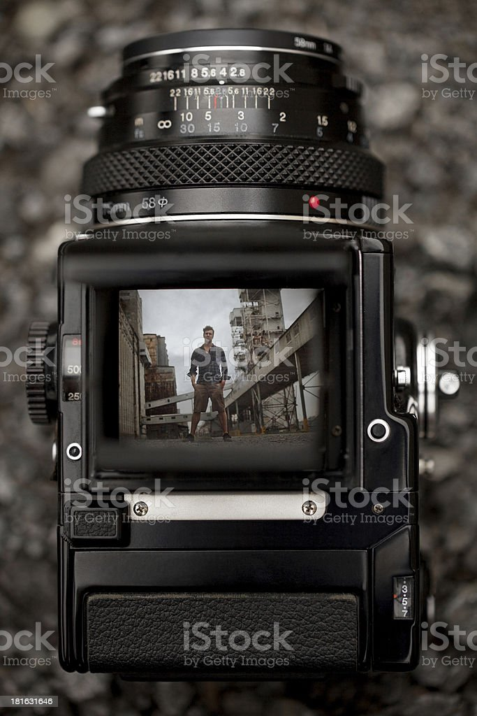 Through the Viewfinder of an Old Medium Format Camera stock photo