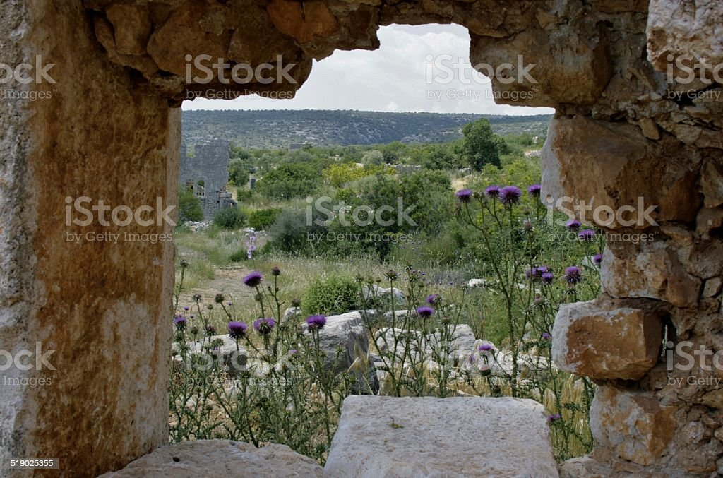 Image from the ancient city Conytellis Kanytella, Window royalty-free stock photo