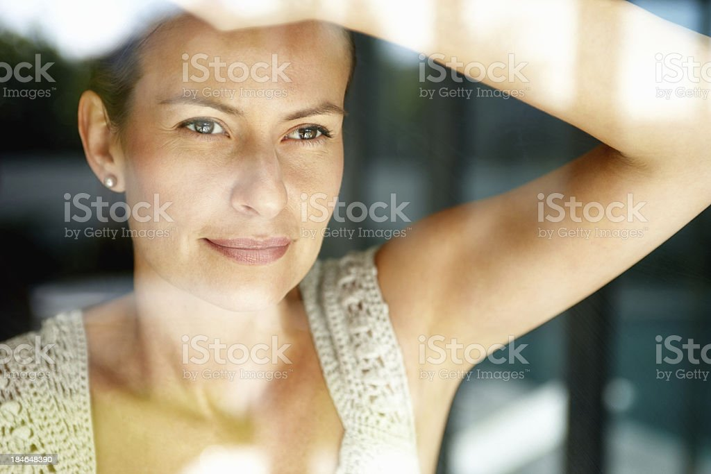 Through the window-glass royalty-free stock photo