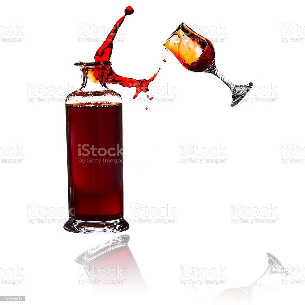 Throw the wine stock photo