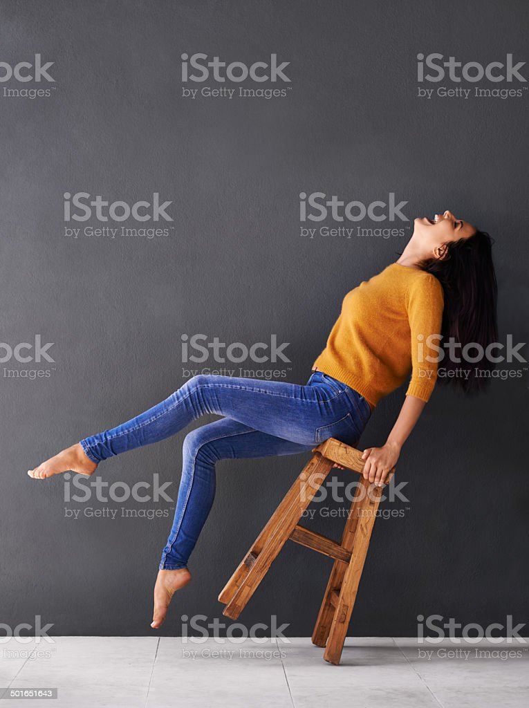 Throw your head back laughing stock photo
