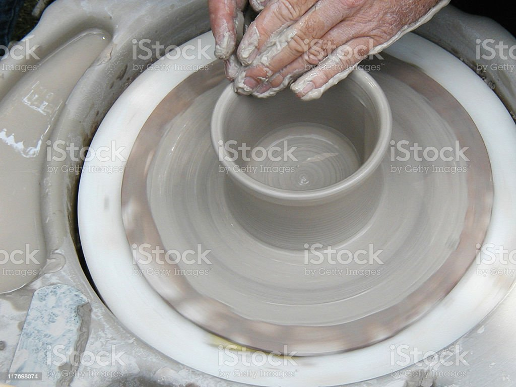 throwing a bowl 3 of 5 royalty-free stock photo