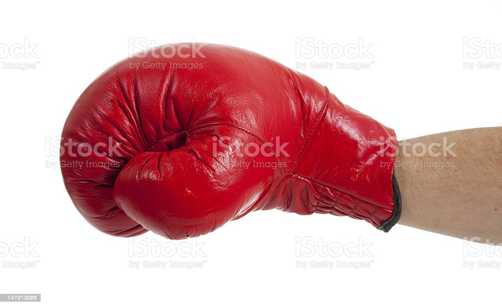 Throwing a punch on white royalty-free stock photo