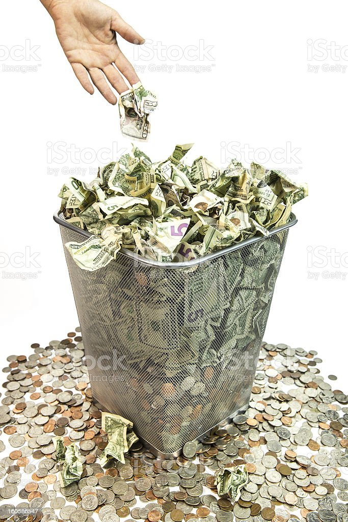 Throwing Away Money stock photo