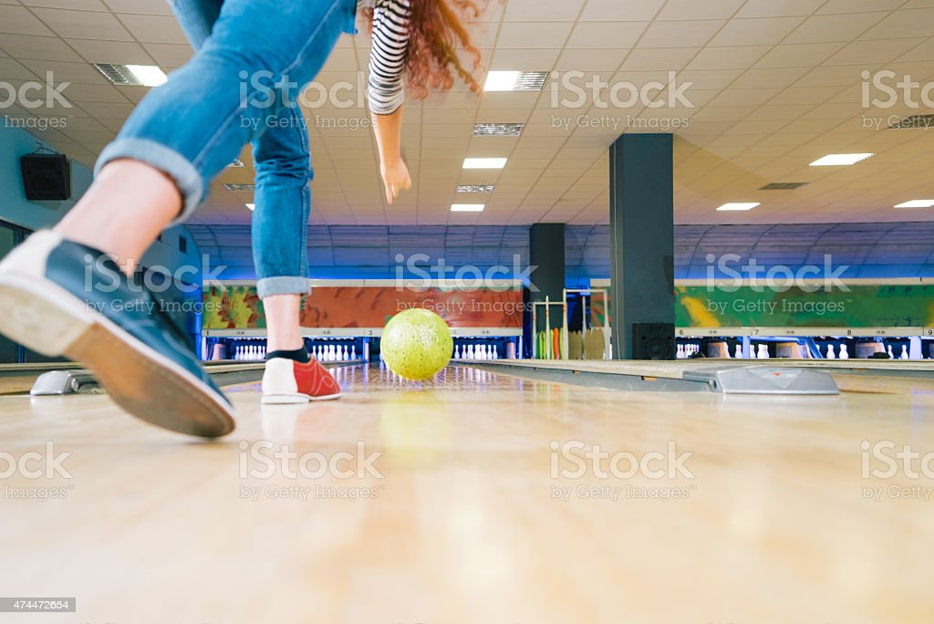 Throwing Bowling Ball stock photo