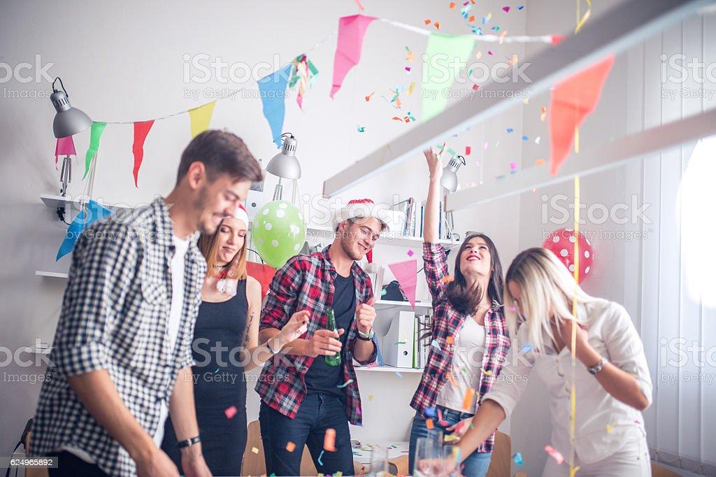 Throwing confetti stock photo