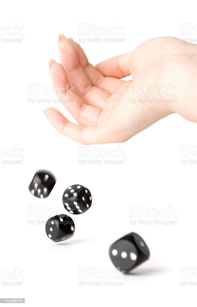 Throwing dices stock photo