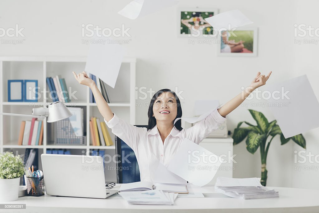 Throwing documents stock photo