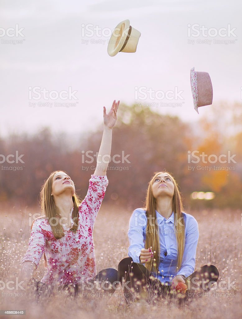 Throwing hats up stock photo