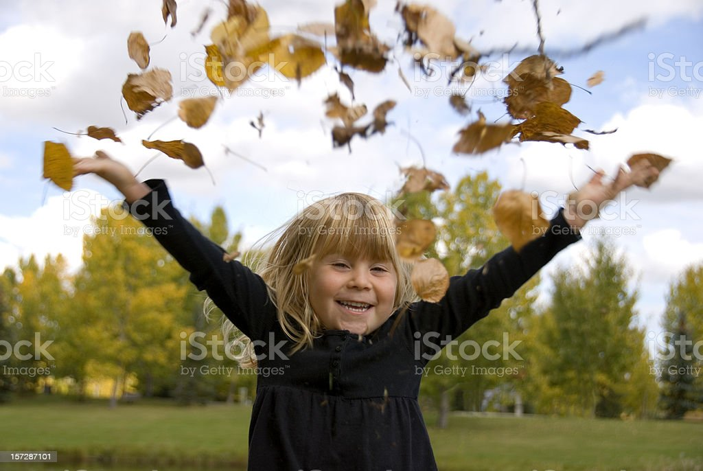 Throwing Leaves royalty-free stock photo