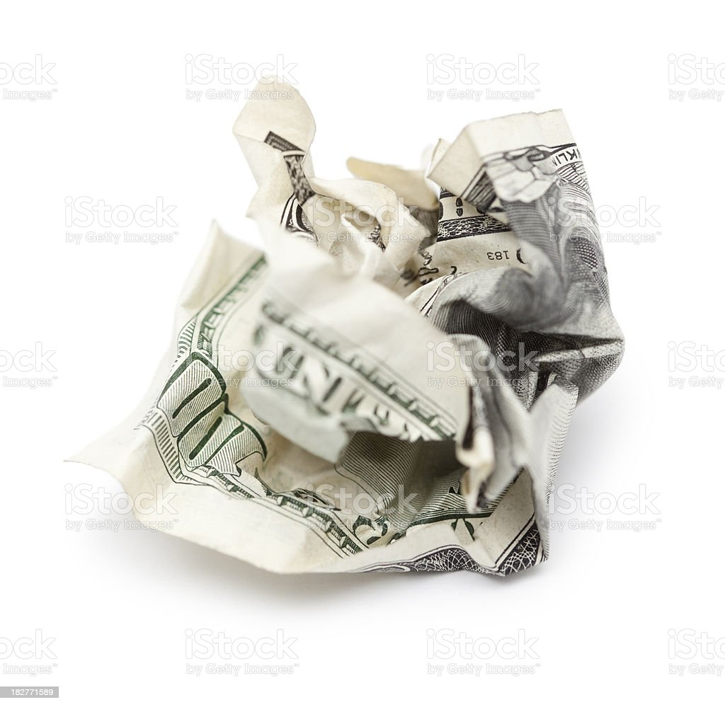 Throwing Money Away - Crumpled Hundred Dollar Bill royalty-free stock photo