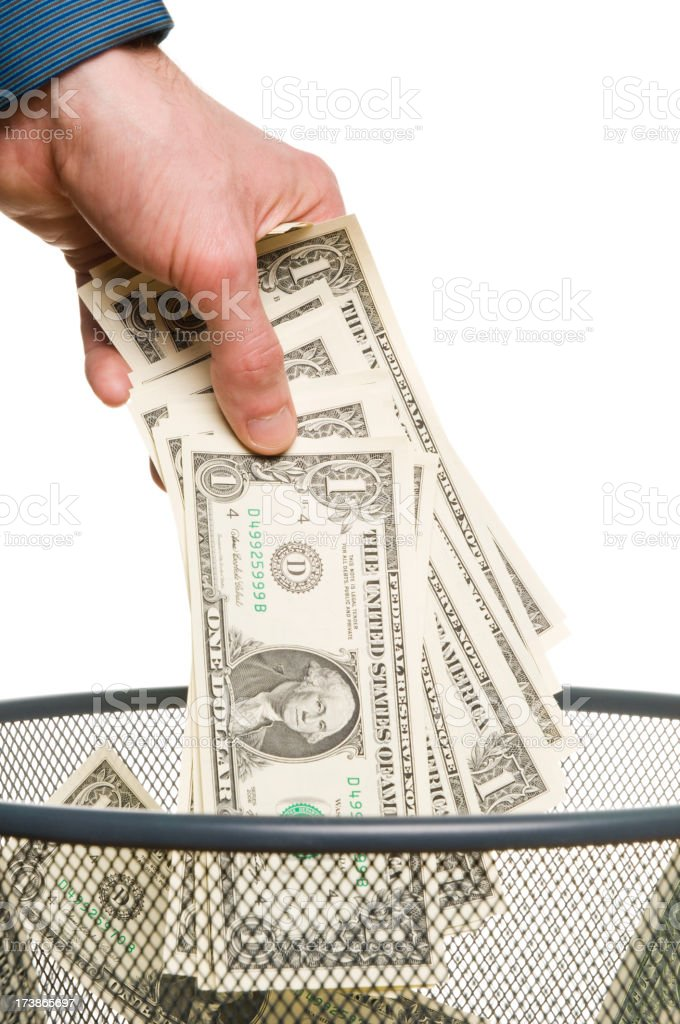 Throwing money stock photo