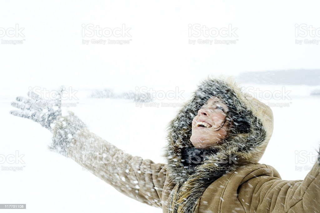 Throwing Snow royalty-free stock photo