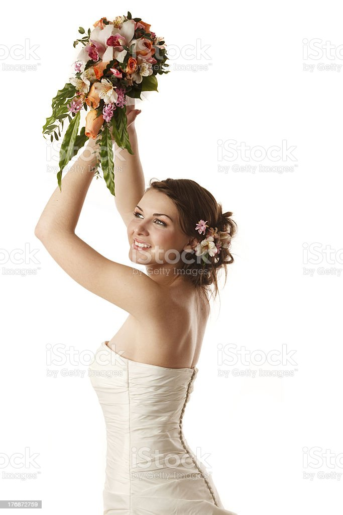 Throwing the bouquet stock photo