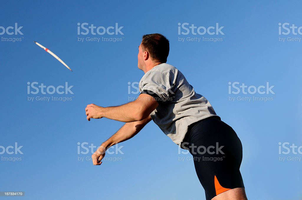 Throwing the javelin royalty-free stock photo