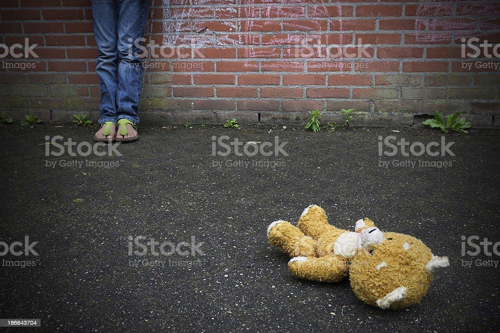 Thrown away Teddy bear stock photo