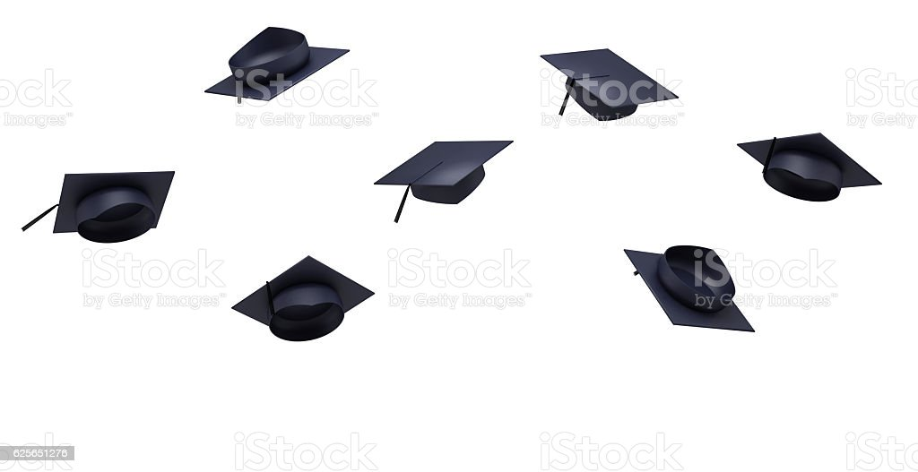 Thrown graduation hats in the air stock photo