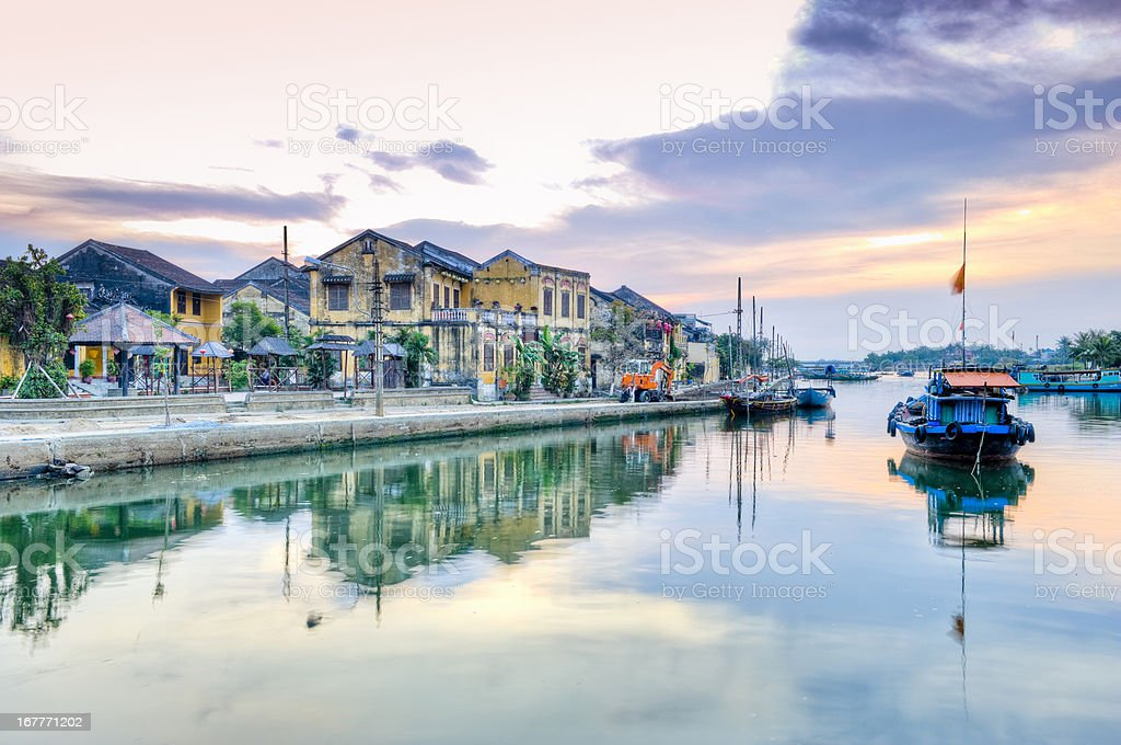 Thu Bon river, Hoi An, Vietnam water reflections stock photo