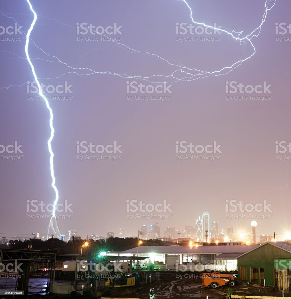 Thuderstorm Produces Lightning Bolt Strikes Calatrava Bridge Dallas stock photo