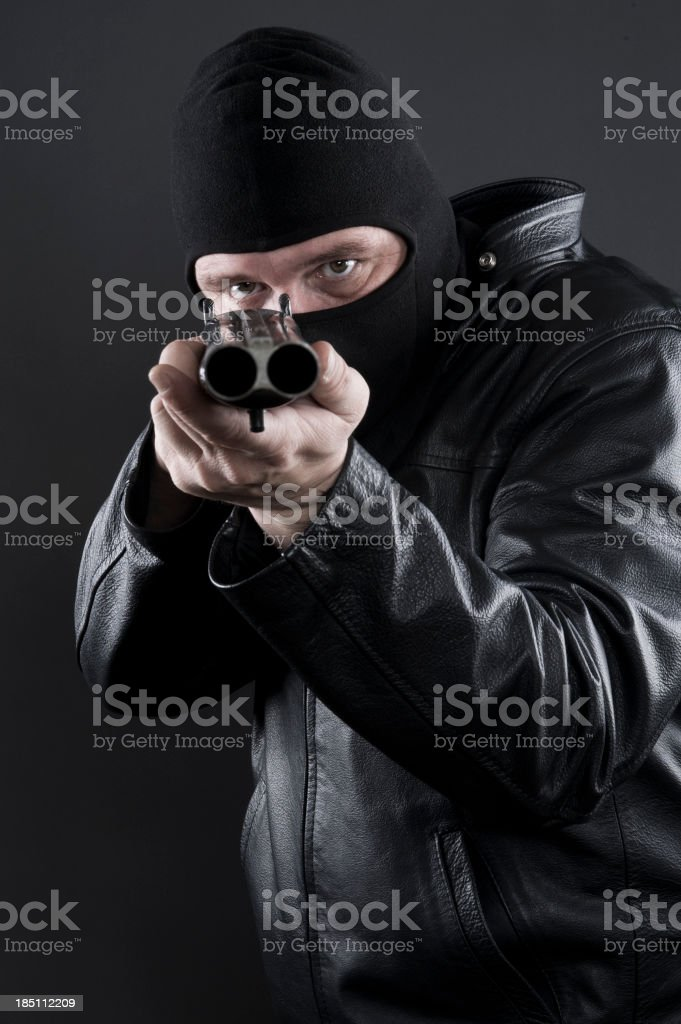 Thug with a Shotgun royalty-free stock photo