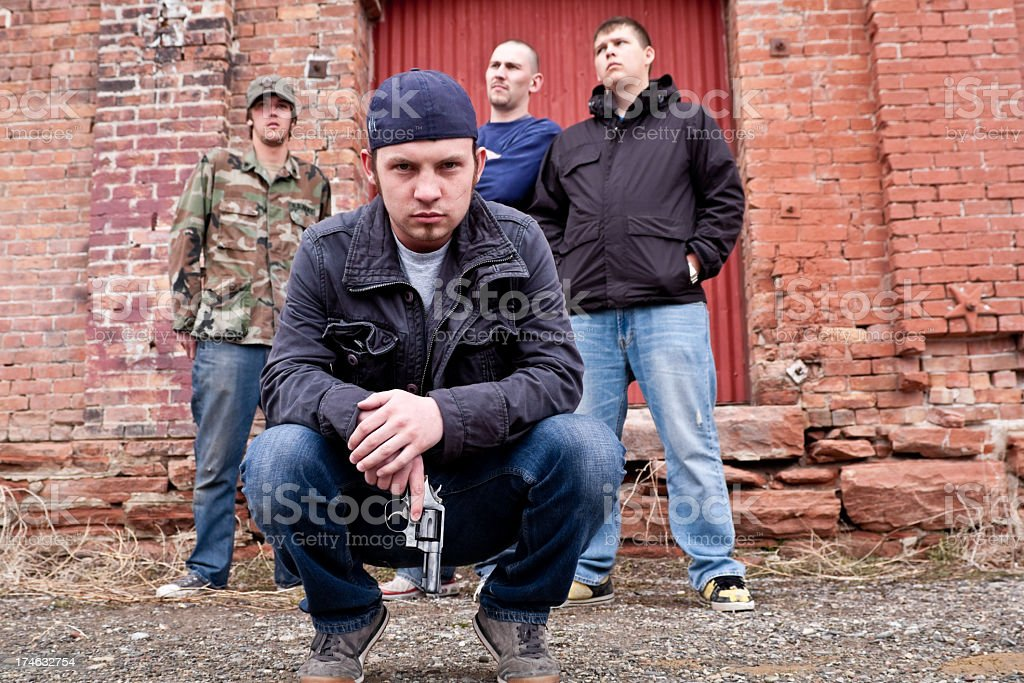 Thugs with a Gun stock photo