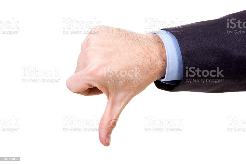 Thumb down stock photo