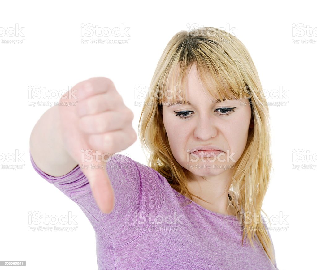 thumb down stock photo
