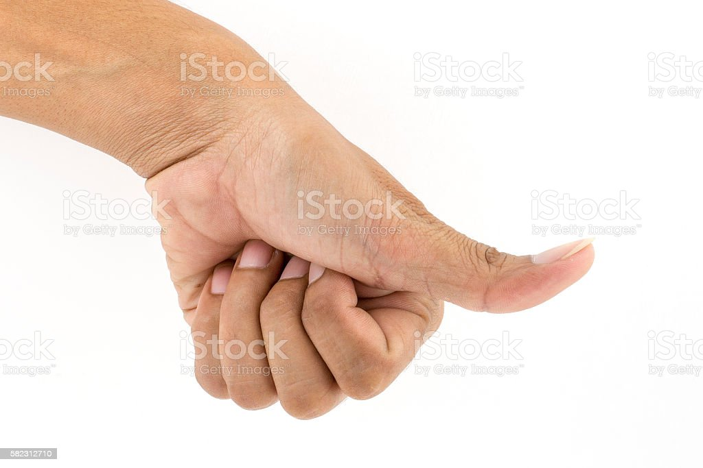 I thumb down unlike isolated on white stock photo