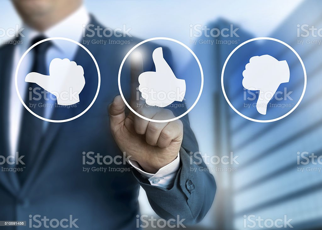 thumb icons for Customer review concept stock photo