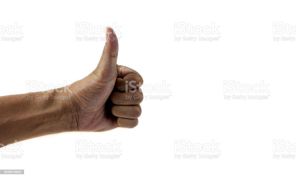Thumb isolated on white background. stock photo