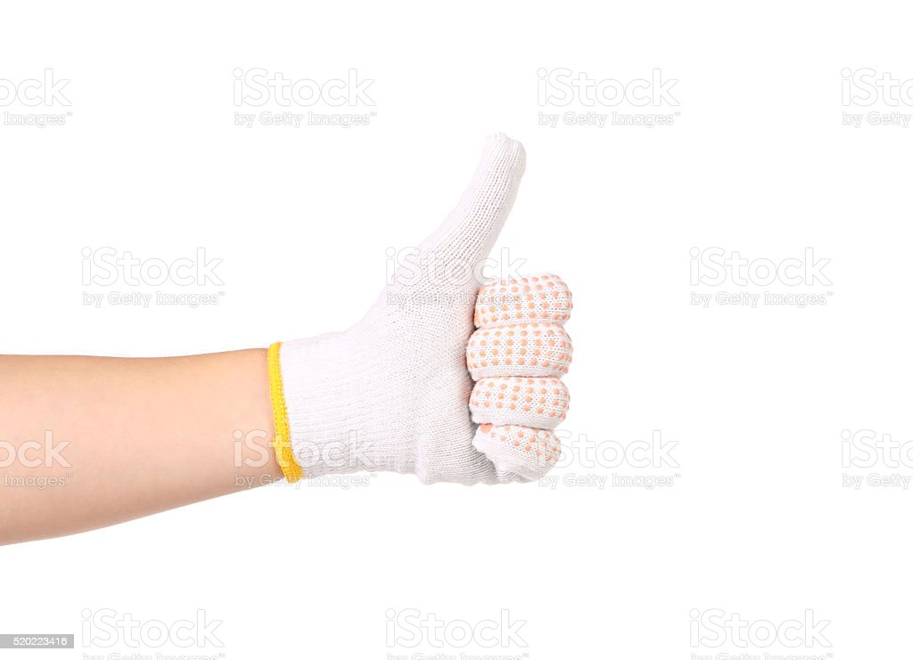 Thumb of man hand in glove. stock photo
