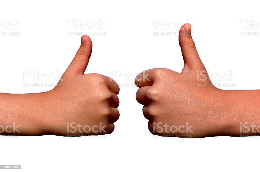 thumb raised to the top on a white background stock photo