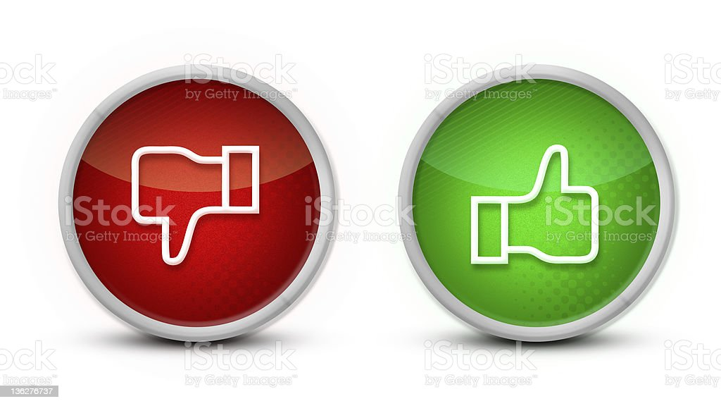 Thumb up and down buttons stock photo
