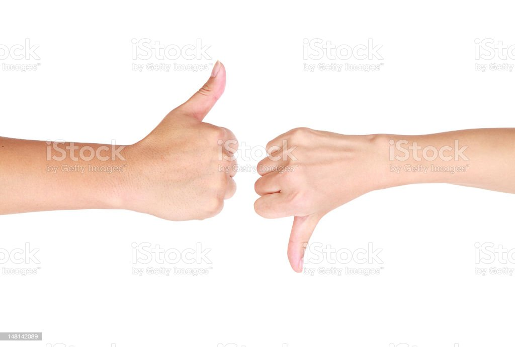 Thumb up and down hand signs-XXXL royalty-free stock photo