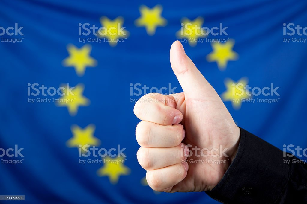 Thumb up and EU flag royalty-free stock photo