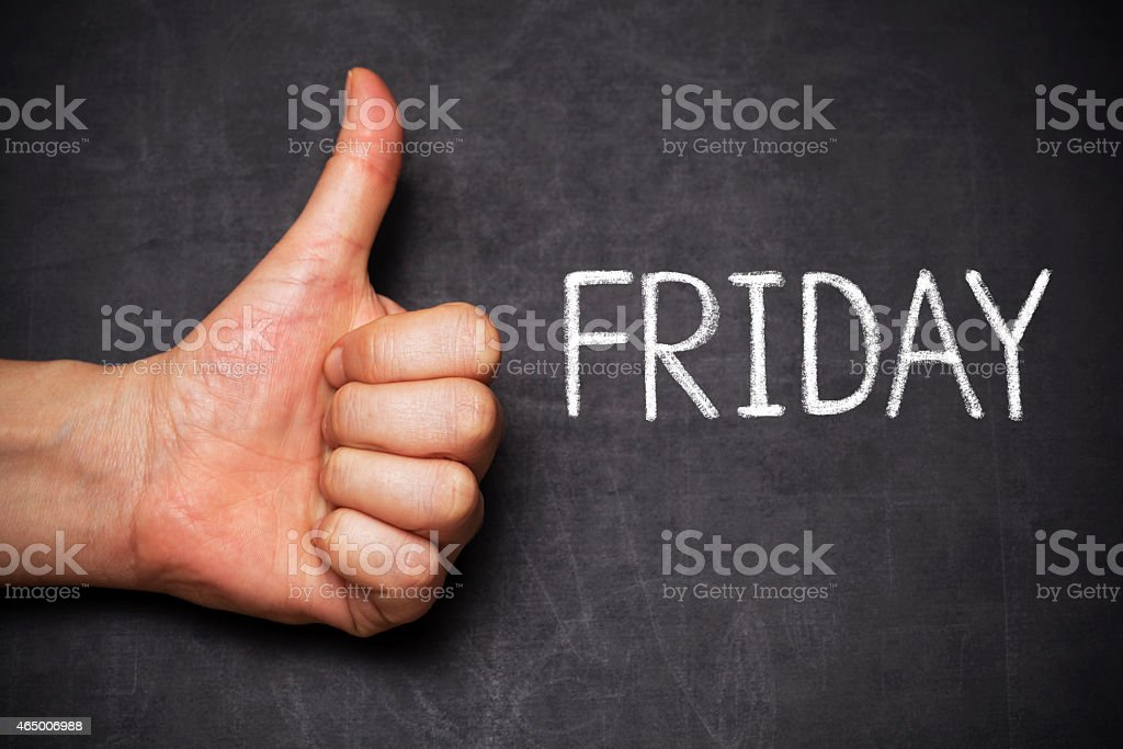 thumb up and word friday stock photo