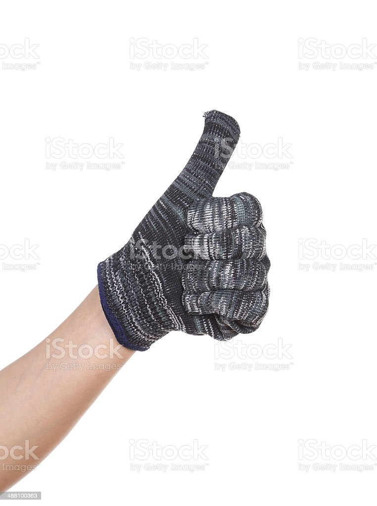 thumb up hand in glove isolated on white royalty-free stock photo