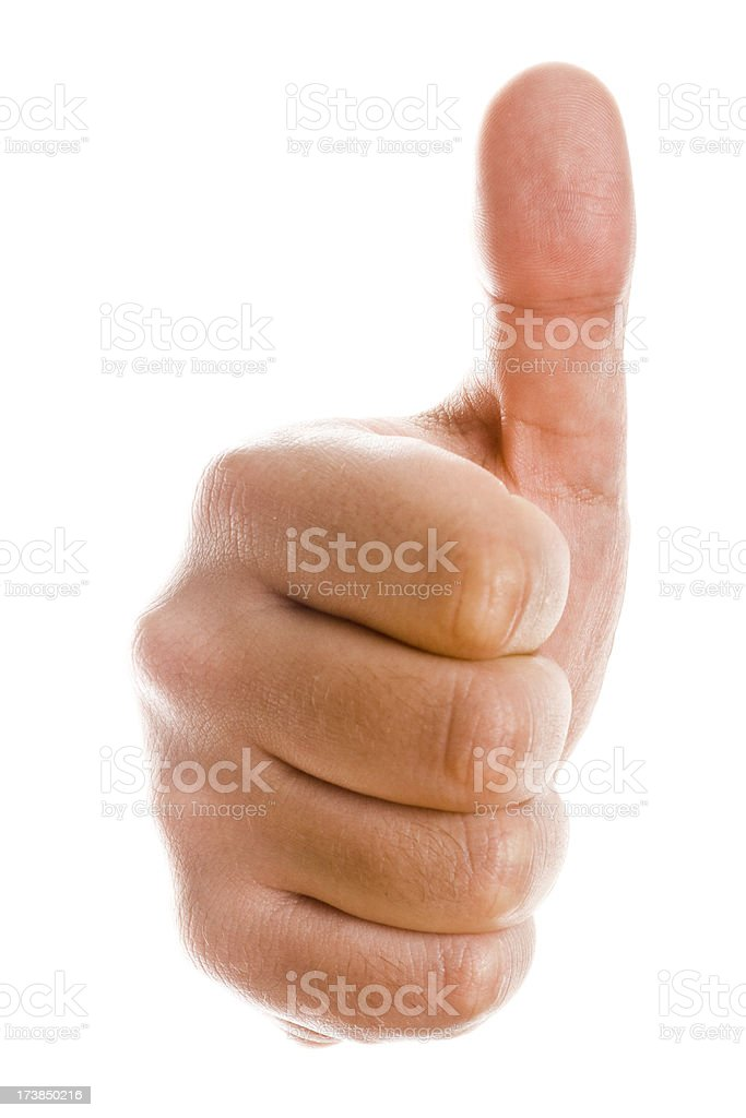 Thumb up isolated on white royalty-free stock photo