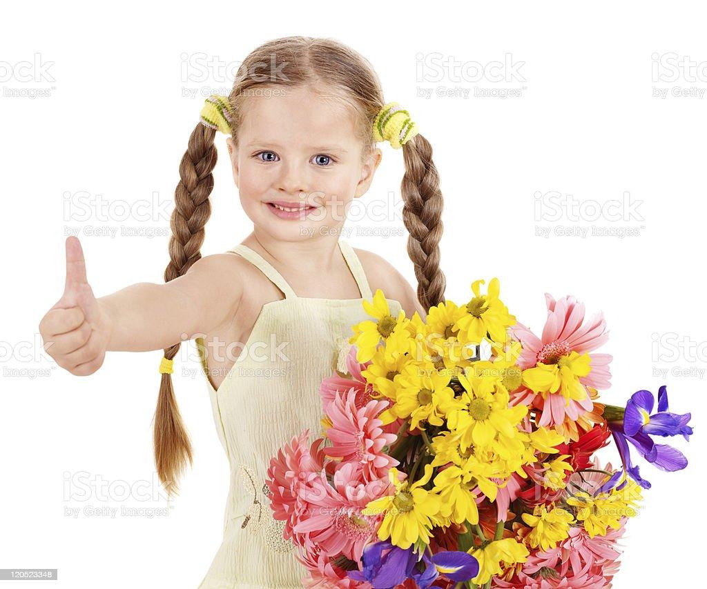 Thumb up of happy child. royalty-free stock photo