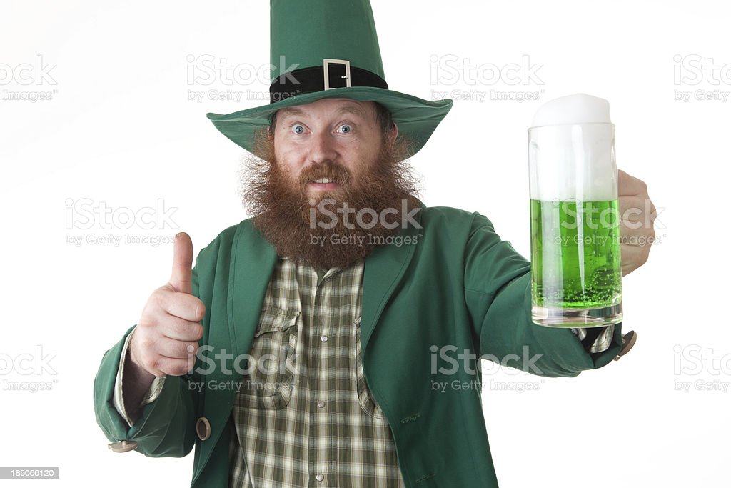 thumbnail up to green beer stock photo