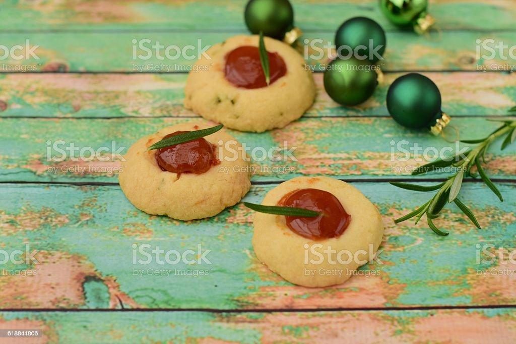 Thumbprint cookies stock photo