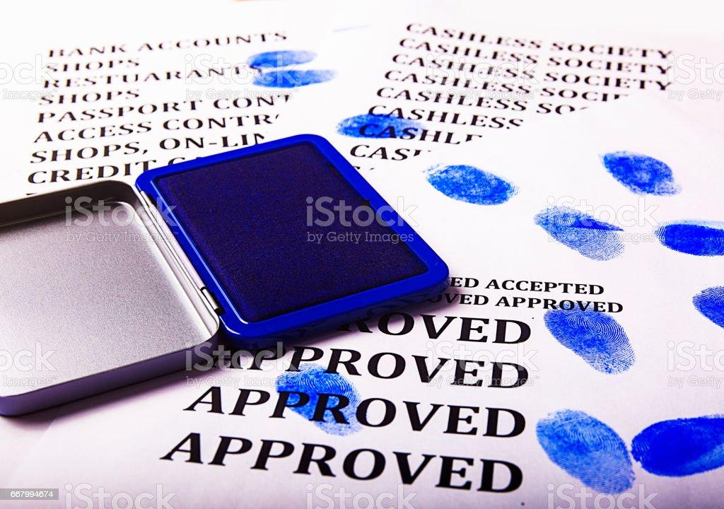Thumbprint for identification stock photo