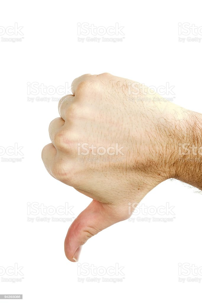 Thumbs Down Isolated royalty-free stock photo