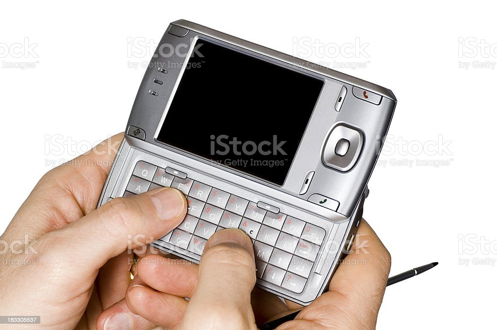 Thumbs on pda thumb board - white stock photo