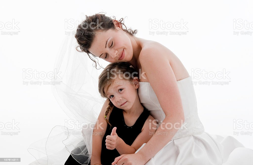 Thumbs Up, Bride and Flower Girl stock photo