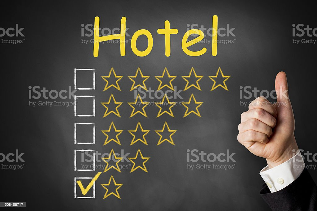 thumbs up chalkboard hotel rating one star royalty-free stock photo