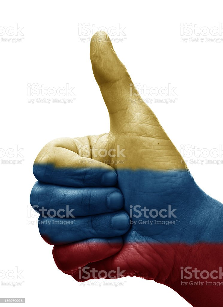 Thumbs up Colombia royalty-free stock photo