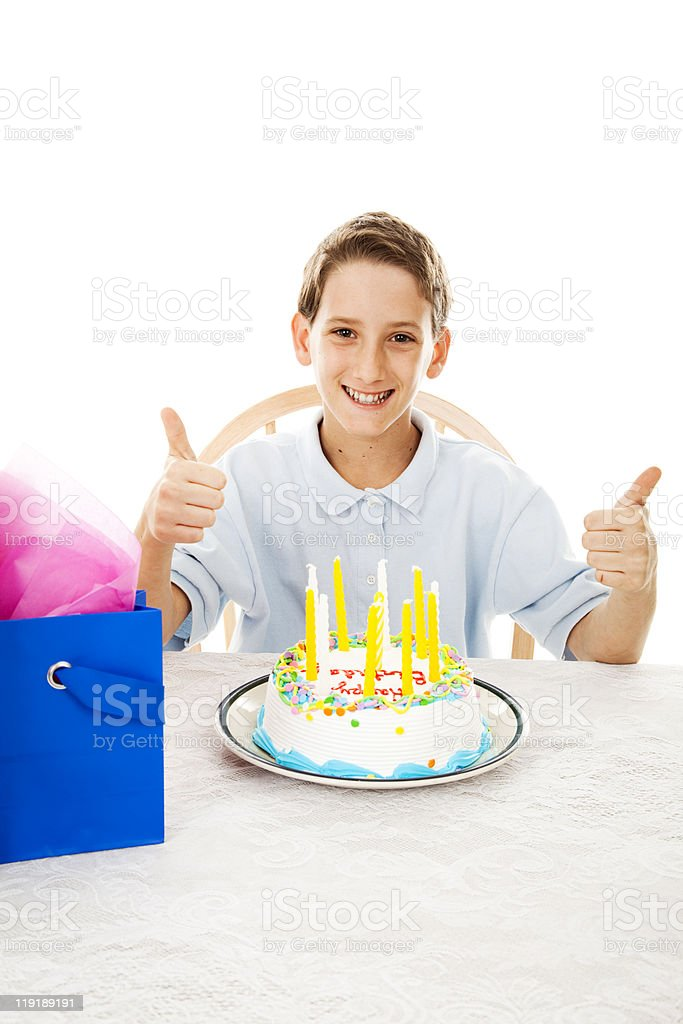 Thumbs Up for Birthday Cake stock photo