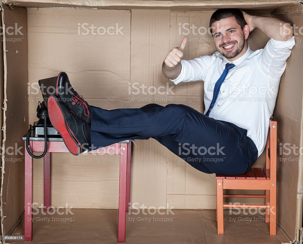 thumbs up for my job stock photo