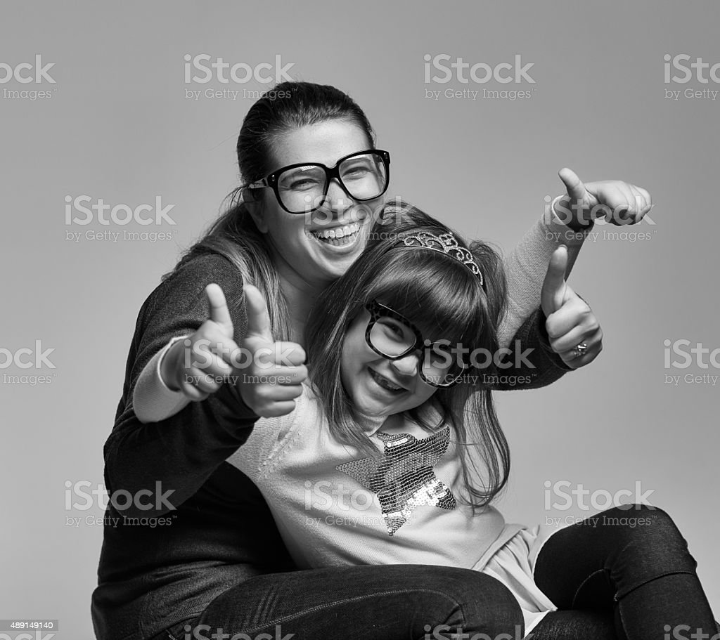 thumbs up for nerds stock photo